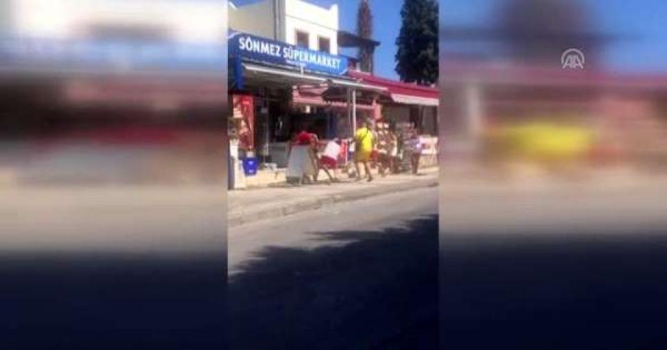 Bodrum'da tatilciler sokak ortasında kavga etti