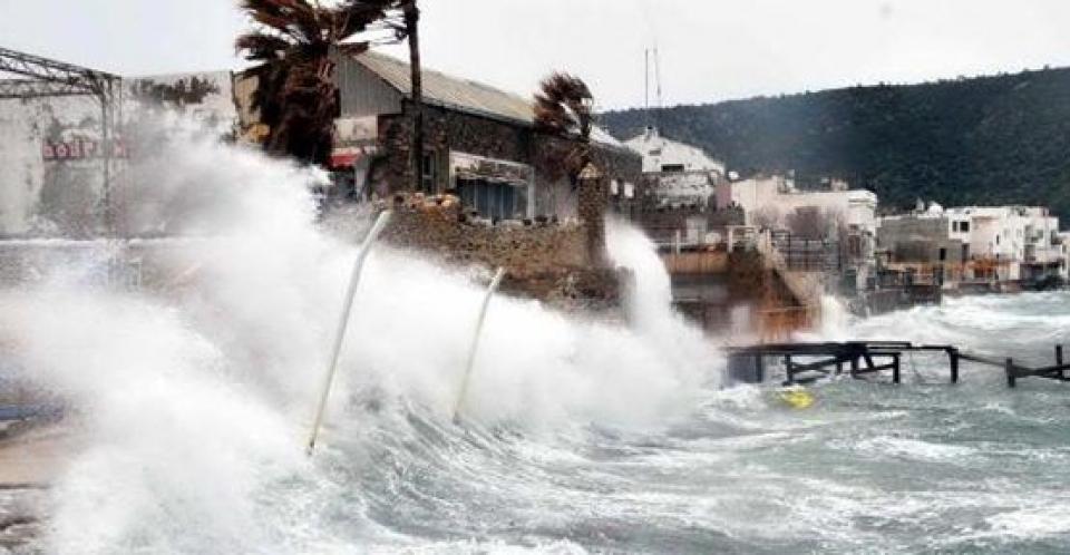Bodrum'da fırtına ve yoğun yağış etkili