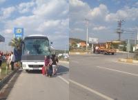 Yolcu otobüsü vinçle çarpıştı