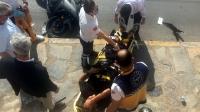 İki kişinin yaralandığı trafik kazası güvenlik kamerasında